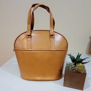 Vintage Structured Bowler Bag Tan Leather [?]